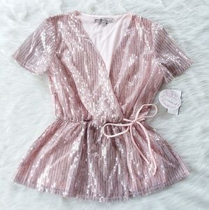 Sequined Top Waist Tie Peplum V Neck Pink